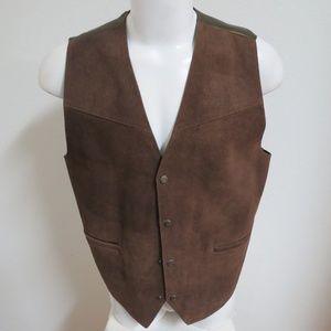 Sz M Brown Western Mens Suede Leather #A08 Vest